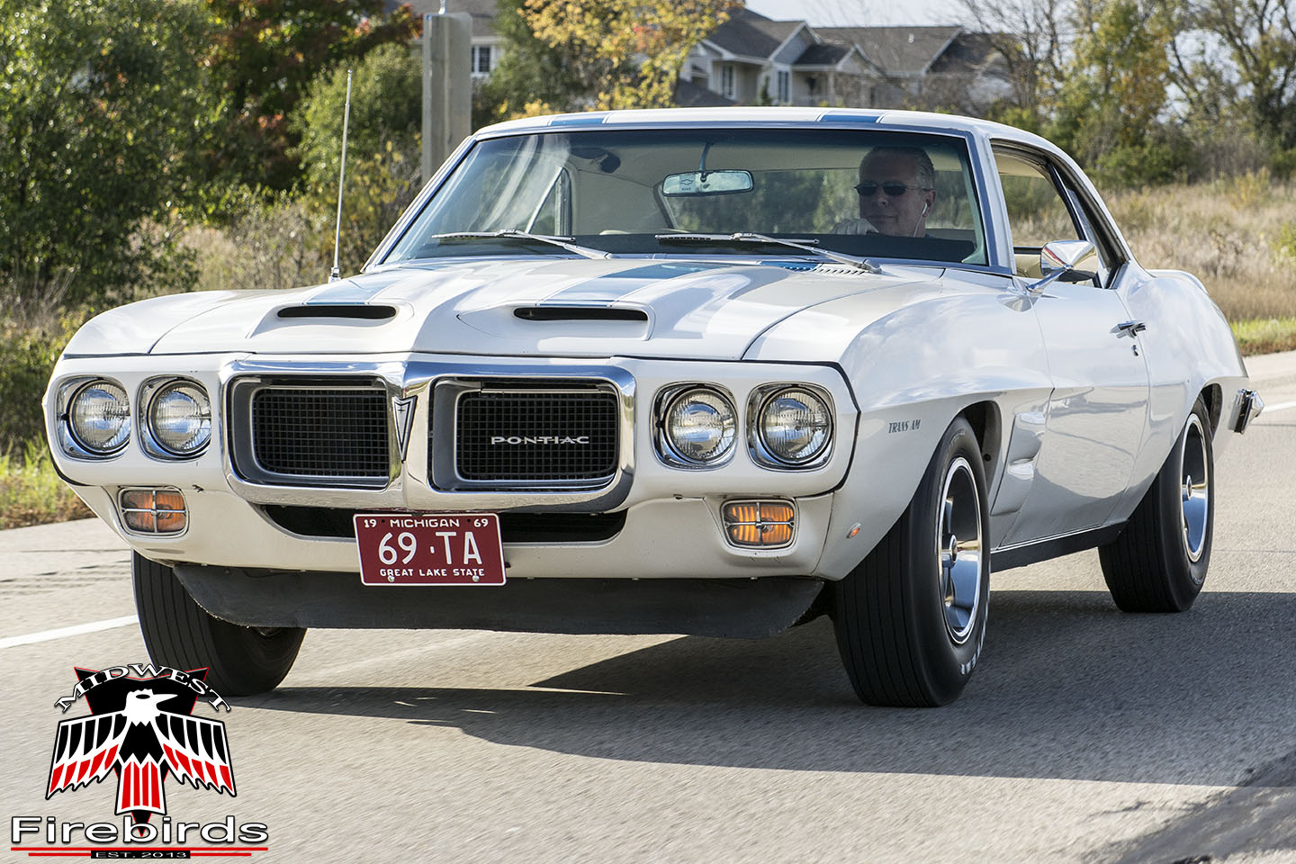 An unrestored 1969 Pontiac Firebird Trans Am on the Midwest Firebirds 2013 Fall Colors Cruise.