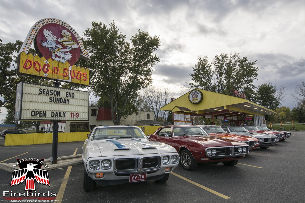 First-generation Pontiac Firebirds parked in Richmond, IL at the Dog N Suds.