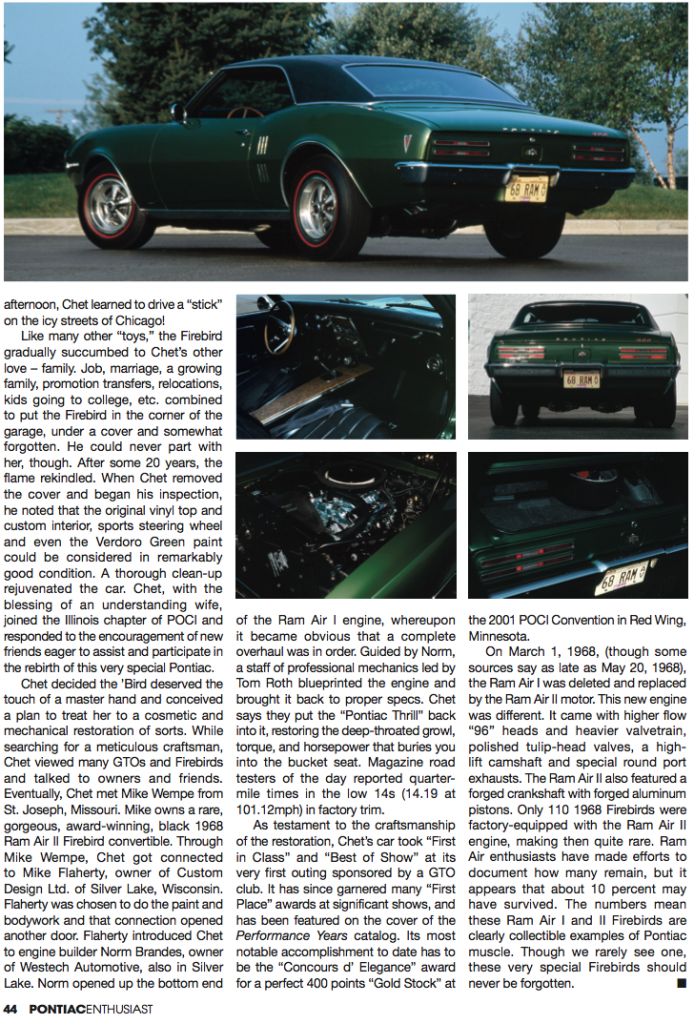 This Verdoro Green 1968 Ram Air convertible was featured in Pontiac Enthusiast magazine.