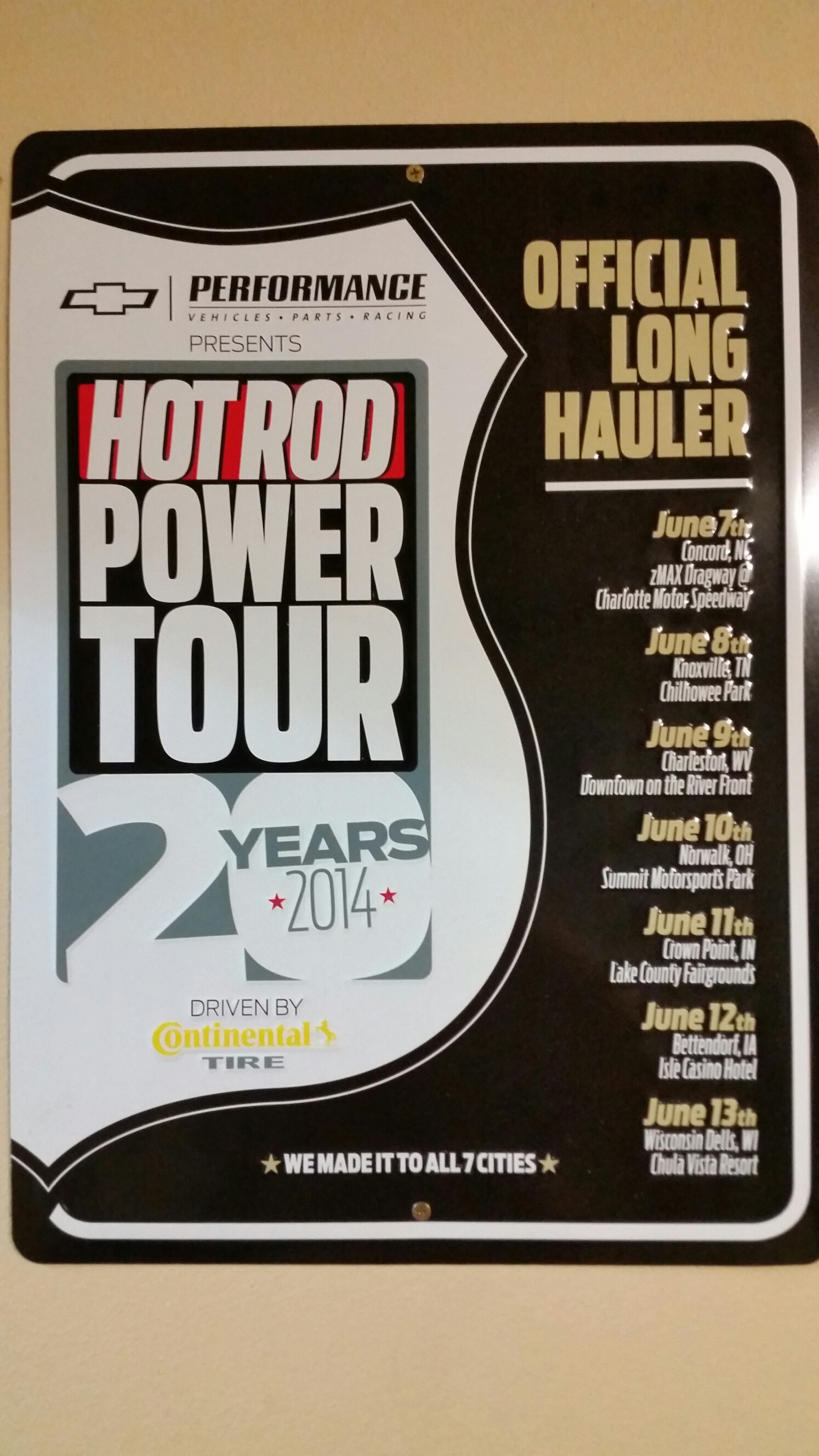 r Special HR power Tour plaque